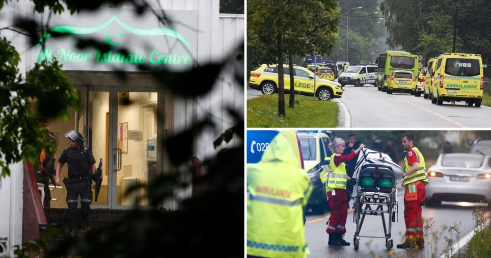 Emergency services respond to shooting at e al-Noor Islamic Centre, in the area of Baerum, outside Oslo, Norway