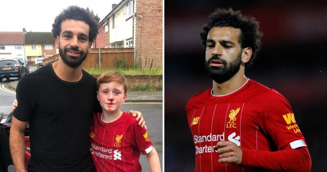 buy popular c7086 cda41 Liverpool's Mo Salah poses with boy who ran after him and ...