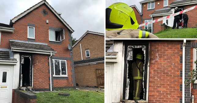 Two people are reported to have jumped from an attic window in order to flee a suspected arson attack this morning