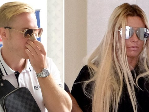 Katie Price hides behind shades as fiancé Kris Boyson tries to cover swollen face after surgery