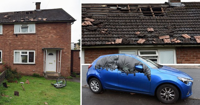 The roof of the house on Dickens Avenue in Llanrumney, Cardiff and a car parked nearby was damaged after a man staged a six-hour siege yesterday