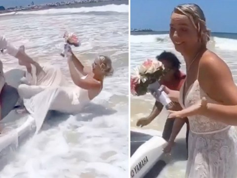 Bride falls into the sea while wearing her wedding dress after attempting to ride away on a jet ski