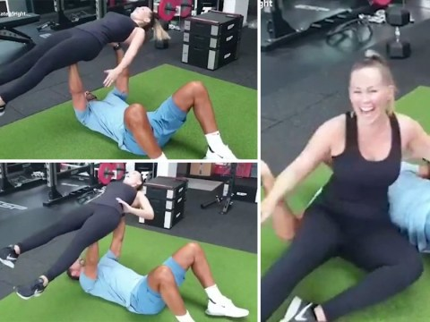 Rio Ferdinand tries to bench press Kate Wright and we definitely won't be trying this at home