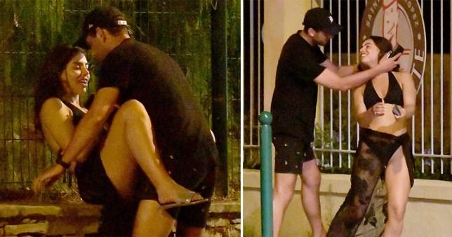 Love Island's Francesca Allen straddles new man in street on wild holiday