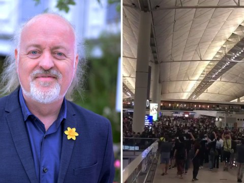 Comedian Bill Bailey caught in Hong Kong airport protests as it 'kicks off' when riot police arrive
