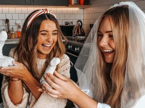 Zoe Sugg takes moulding a giant penis very seriously as she enjoys hen party