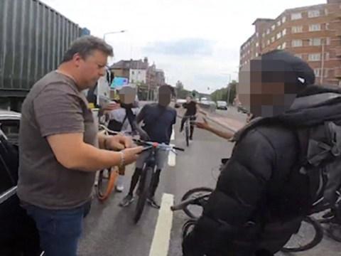 Yob doing wheelies on bike smashes into Mercedes then blames driver