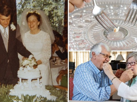 Husband and wife have been eating small slices of their wedding cake for 50 years