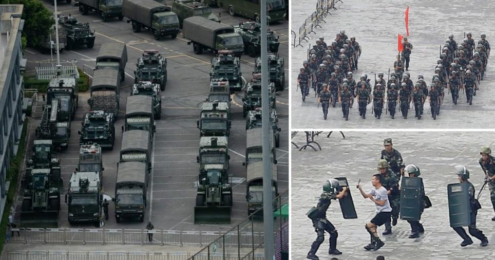 China military near the Hong Kong border