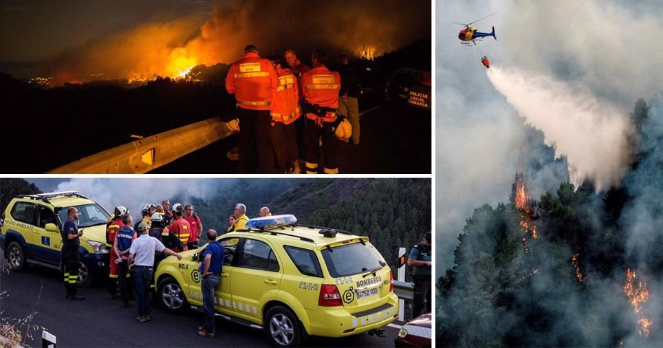 Wildfire in Gran Canaria, Canary Islands, Spain