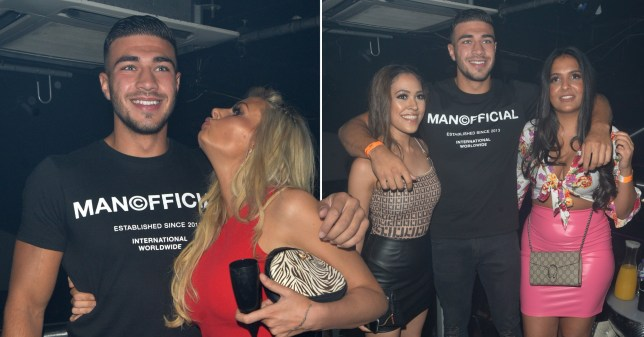 Love Island's Tommy Fury poses with girls in corsets at club PA as girlfriend Molly-Mae Hague flies to Los Angeles