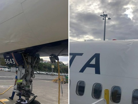 Boeing 757 plane landed so roughly its fuselage was bent out of shape by the impact