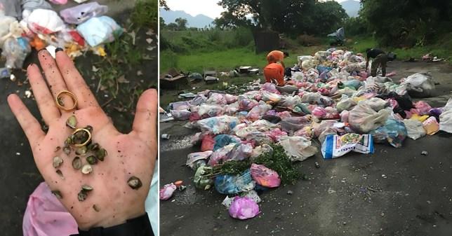 Binmen wade through 4 tonnes of rubbish to find woman's rings