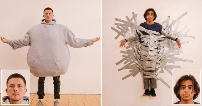 Two people pose for passport photos but in hilarious backgrounds like being taped to a wall