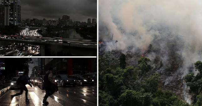 Sao Paulo plunged into darkness in the middle of the day as thick smoke from Amazon wildfires blankets the city