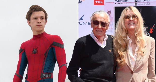 tom holland dressed as spider-man, joan celia and stan lee