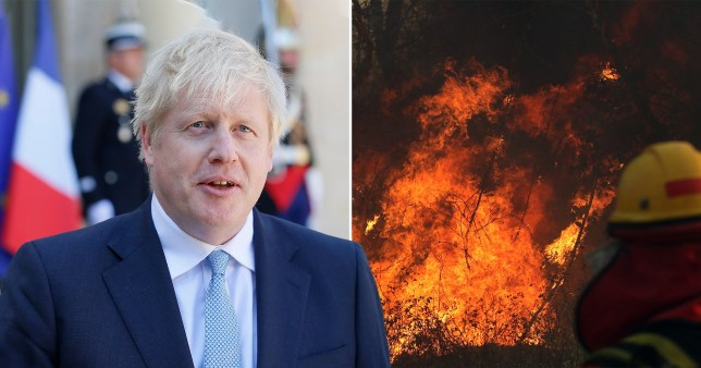 Boris Johnson and a picture of the wildfires