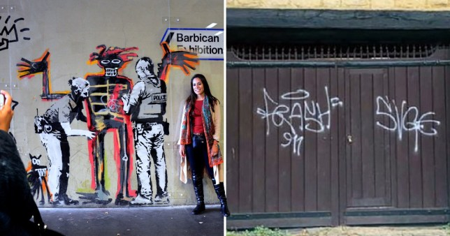 A banksy and the graffiti the teenager did