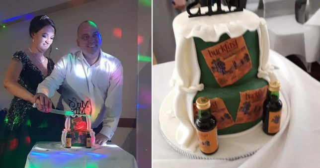 Couple cutting their Buckfast-themed cake on their wedding day