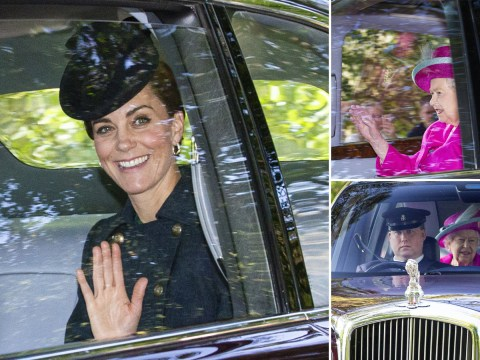 Kate Middleton all smiles as she and William share ride to church with the Queen