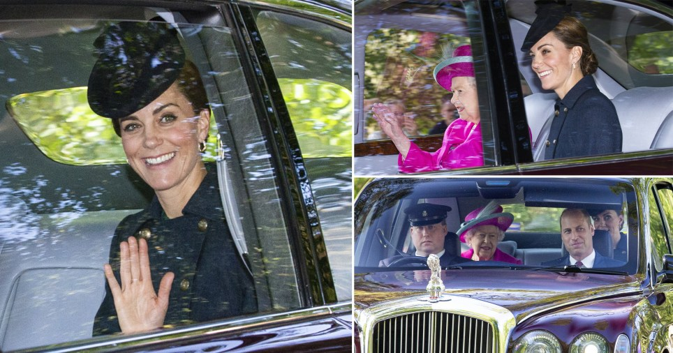 Kate Middleton is all smiles as she rides to Sunday service with the Queen