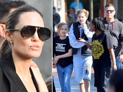 Angelina Jolie far from tears as she takes kids to Disneyland after leaving Maddox at university in South Korea
