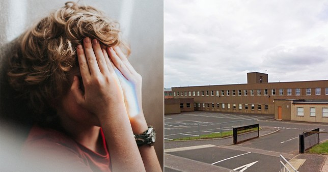 School where teacher was sacked and kid covering eyes