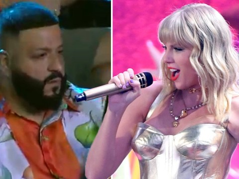 DJ Khaled is a big mood as he gets in his feelings for Taylor Swift's Lover at MTV VMAs