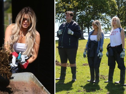 Hayley Hughes and James 'Arg' Argent muck out manure while filming Celebs On The Farm