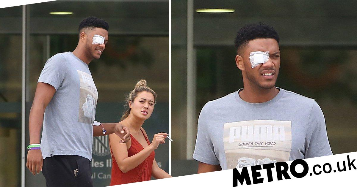 Love Island's Theo Campbell emerges after splitting eye in