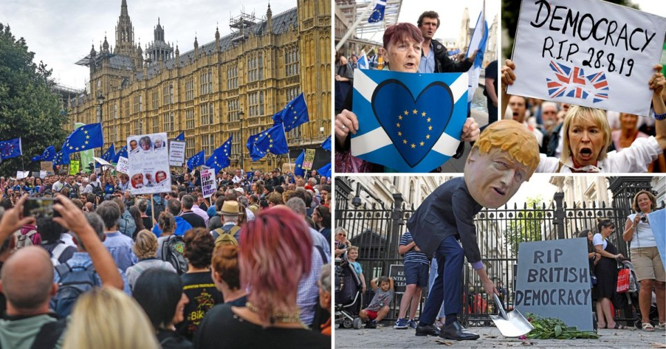 Thousands of protesters take to London over Boris Johnson's move to suspend Parliament