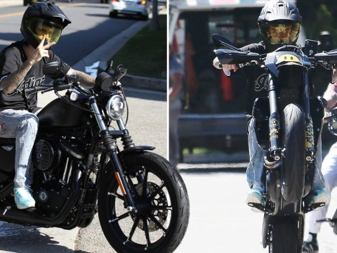 Justin Bieber maintains bromance with MLB star Shane Bieber as he practices wheelies on new motorbike