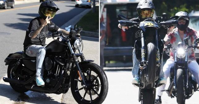 Justin Bieber on his motorbike