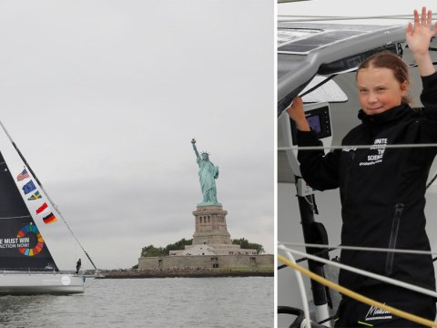 Greta Thunberg arrives in New York after two-week sail from Plymouth