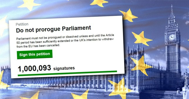 petition to stop Boris Johnson suspending Parliament reaches over a million