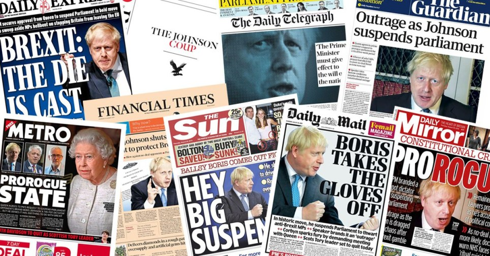 How the papers reacted to Boris Johnson suspending parliament