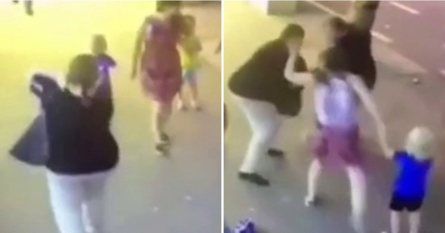 The attacker, in a black top, pulled a knife from her bag and randomly attacked two children