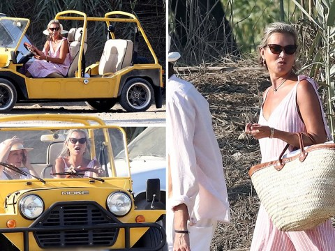 Kate Moss and Sadie Frost live in the fast lane as they're pictured driving a Mini Moke on holiday