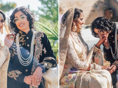 Indian-Pakistani lesbian couple get married – with one bride wearing a sari and the other a sherwani