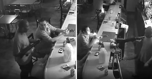 Man lights cigarette as robber points gun at his head
