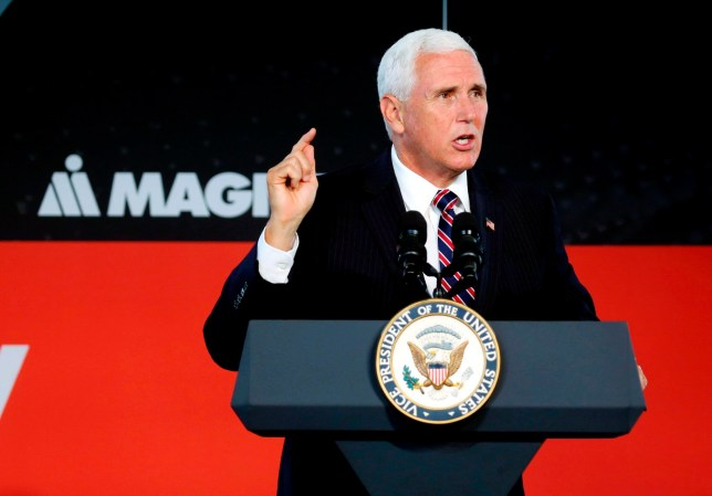 Vice President Mike Pence speaks at the groundbreaking for a new company MAGNA International in Lancaster, Ohio, Tuesday, July 30, 2019. (Eric Albrecht/The Columbus Dispatch via AP)