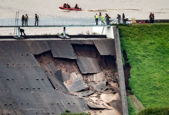 Toddbrook Reservoir near the village of Whaley Bridge, Derbyshire, after it was damaged in heavy rainfall. PRESS ASSOCIATION Photo. Picture date: Thursday August 1, 2019. See PA story WEATHER Rain. Photo credit should read: Danny Lawson/PA Wire