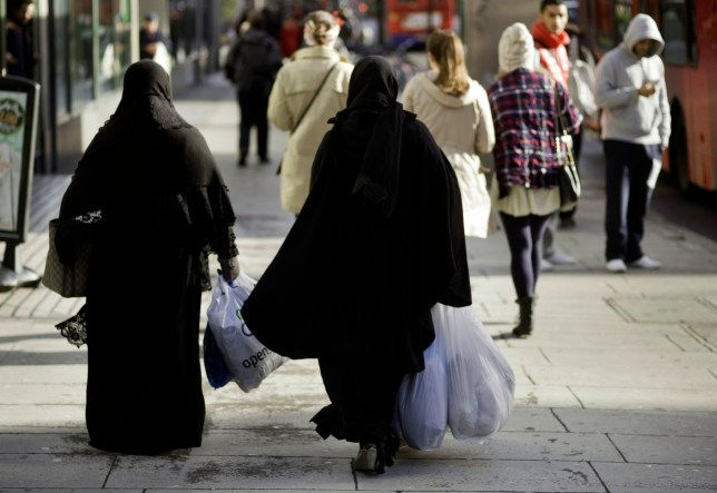Europe, UK, England, London, View Of Two Muslim Women walking down Edgware Road
