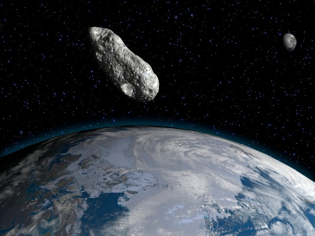 Artwork of an asteroid and planet earth.
