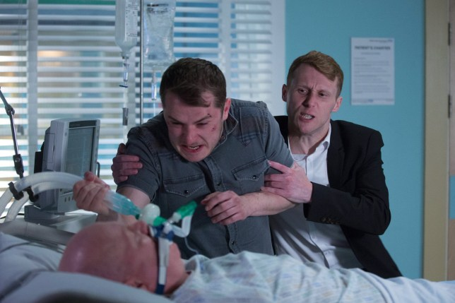 Max Bowden as Ben Mitchell and Jamie Borthwick as Jay Brown in EastEnders