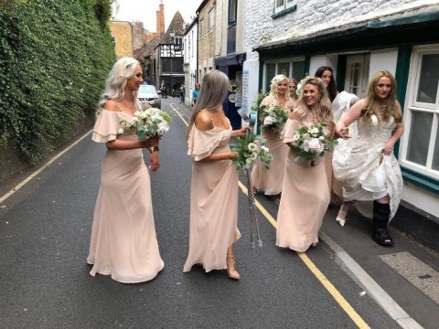 Bride who broke her leg in four places has it snapped into place by bridesmaid