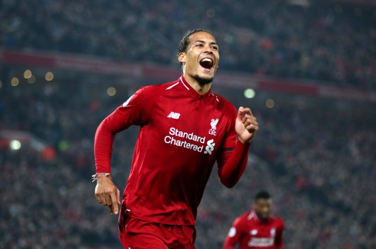 Virgil van Dijk of Liverpool celebrates after scoring in the Premier League