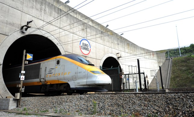 A high-speed Eurostar train from London leaves the Channel tunnel, before arriving at the Eurotunnel terminal in Coquelles, near Calais, northern France, on July 1, 2010. AFP PHOTO / DENIS CHARLET (Photo credit should read DENIS CHARLET/AFP/Getty Images)