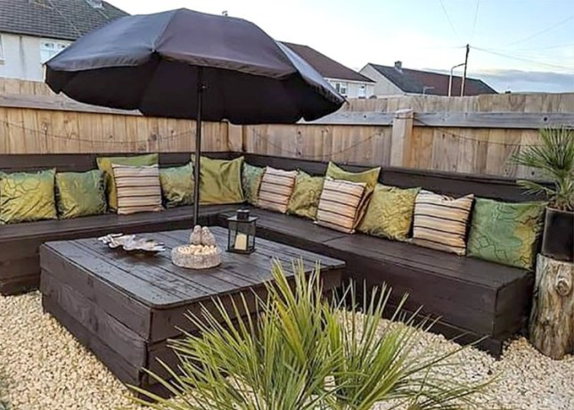 The outdoor furniture that cost £22 made from pallets