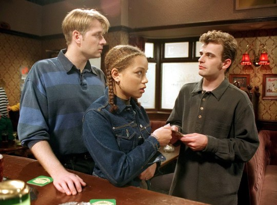 Alan McKenna [Glenn Hugill], Fiona Middleton [Angela Griffin], and Steve McDonald [Simon Gregson] in Coronation Street